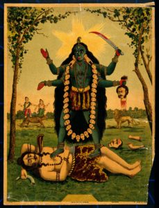 Kali - V0045066 Kali; standing triumphantly over Shiva. Chromolitho<br /> Credit: Wellcome Library, London. Wellcome Images<br /> images@wellcome.ac.uk<br /> http://wellcomeimages.org<br /> Kali standing triumphantly over Shiva. Chromolithograph.<br /> Published: [n.d.]<br /> Copyrighted work available under Creative Commons Attribution only licence CC BY 4.0 http://creativecommons.org/licenses/by/4.0/